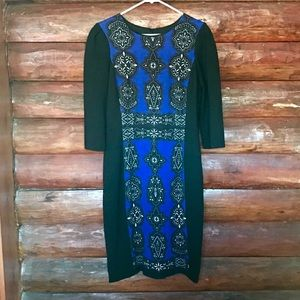 Adrianna Papell Moroccan blue and black dress
